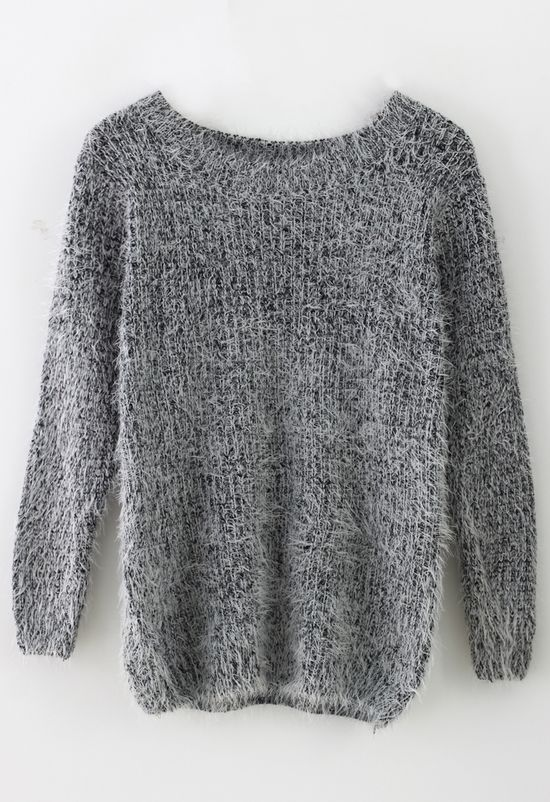 Basic Fluffy Sweater in Grey - Sweaters