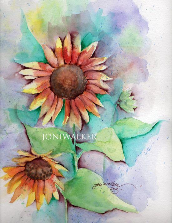 original watercolor painting Summer Sunflowers