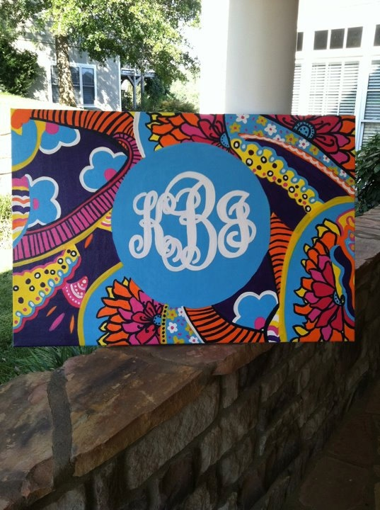 monograms + canvas + paint + creativity