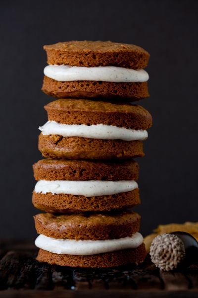 Pumpkin whoopie pies with spiced cream cheese filling