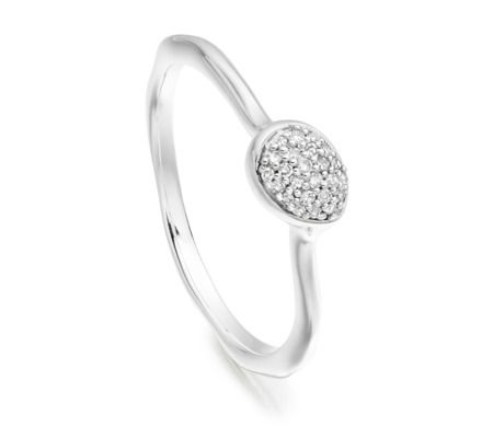 Siren Diamond Small Stacking Ring in Sterling Silver with Diamond