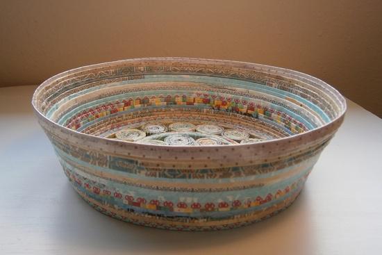 Handmade Paper Basket - Aqua/Tan, large