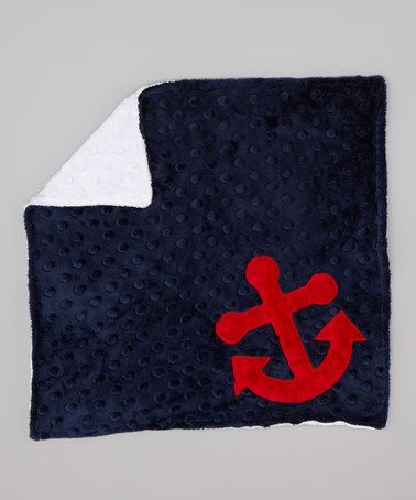 Take a look at this Navy & White Anchor Minky Lovey by Lolly Gags on #zulily today!