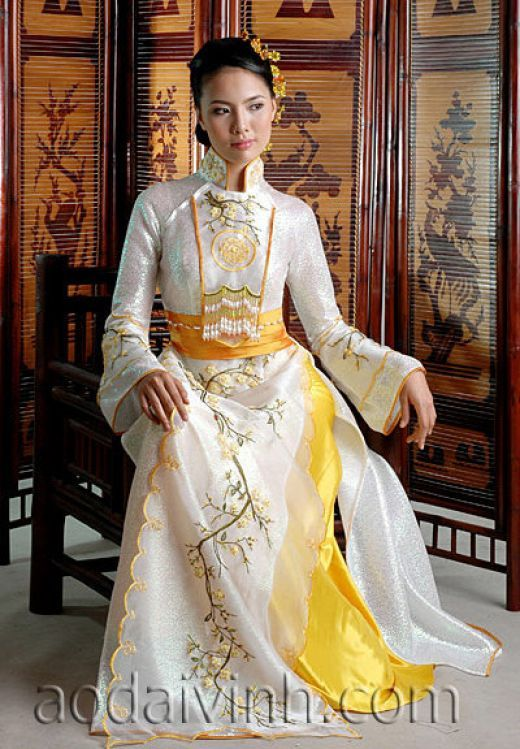 Interesting motif on the front. Embroidered gold and white ao dai