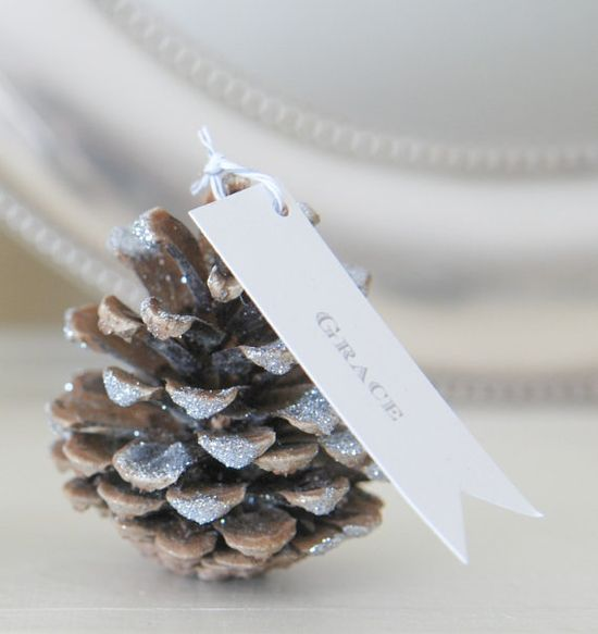 Glittered Pinecone Seating Cards / Escort Cards by PotterandButler