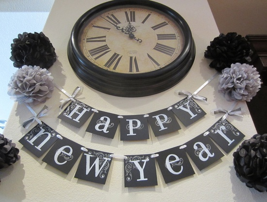 NEW YEARS banner 2013 garland decoration wall hanging black and white.