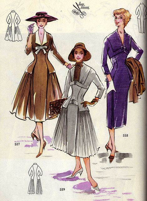 A trio of completely beautiful mid-50s dresses. I especially like the bow adorned collar on the dress on the left. #vintage #fashion #dress #1950s #illustration