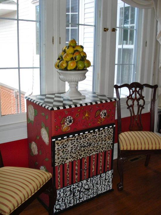 Funky Hand Painted Furniture in a Traditional Home