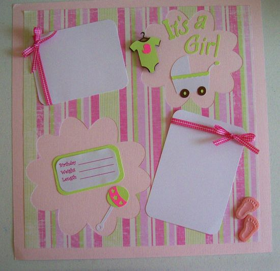 It's a Girl Single 12x12 Scrapbook Page  Girls by KatlinLee123, $8.50