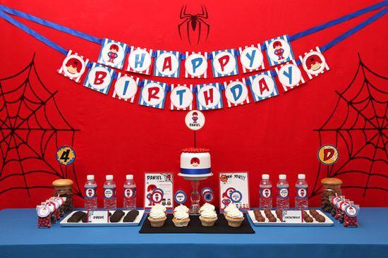 Spiderman Superhero Birthday Party Package by petitbouh on Etsy, $35.00