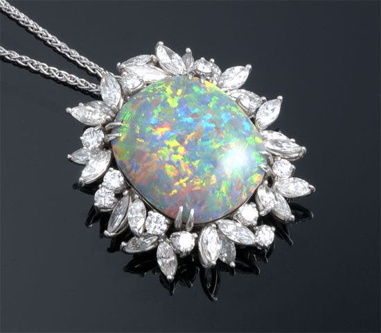 Black Opal & Diamond Pendant and Chain