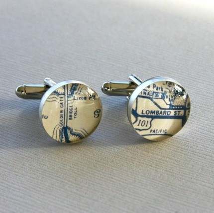 San Francisco Cufflinks : Made to order with bits from a vintage 1950's road atlas, these are set in sterling silver bezels and then sealed beneath a clear resin.