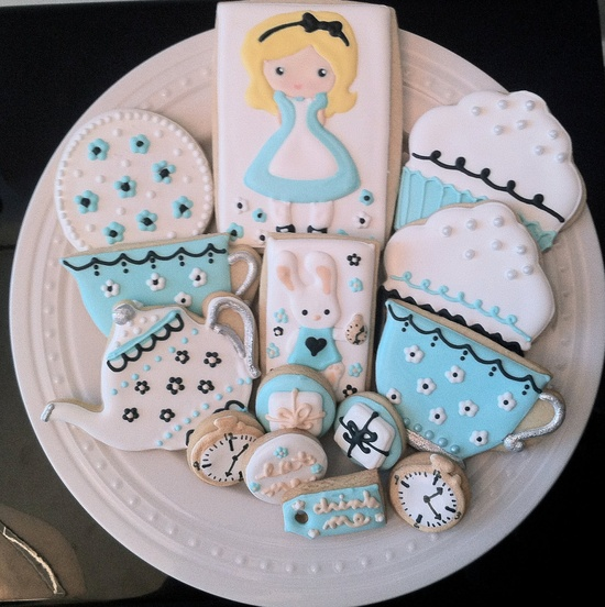 Alice in Wonderland Tea Party Decorated Cookies