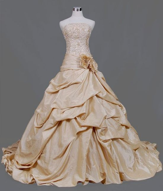 Wedding Dress with Color in Light Gold by WeddingDressFantasy, $679.00