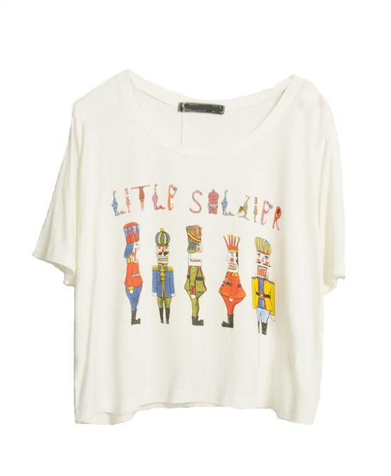 Cartoon Printed Round Neckline T-shirt