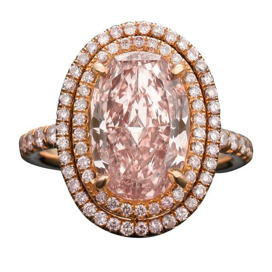pink diamond antique ring