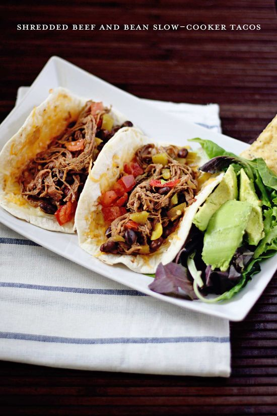 Shredded Beef and Bean Slow-Cooker Tacos - 3 step simple!