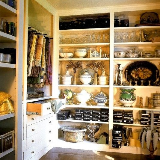 Bunny Williams' Butler's Pantry.  How to store and organize things so they look beautiful