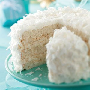 """White Chocolate Coconut Cake - The white """"snowball"""" look makes it the perfect choice for a Christmas celebration"""
