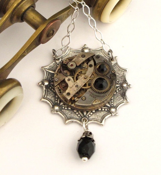 Vintage watch movement exclusive design by Mystic Pieces #steampunk #jewelry #mysticpieces
