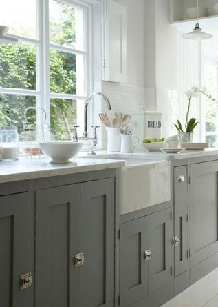 grey kitchen & farmhouse sink