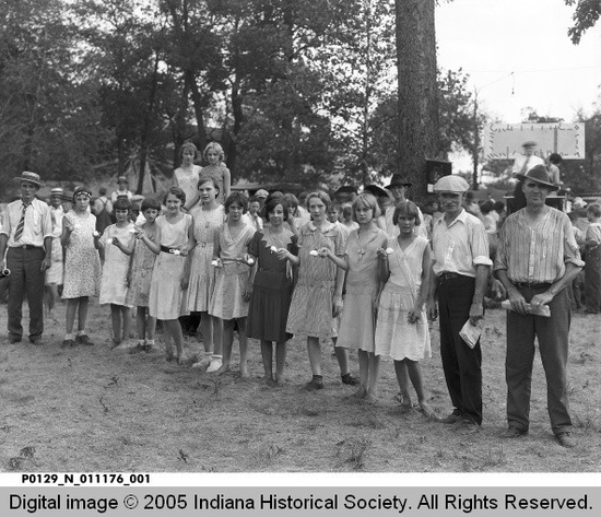 Young People Preparing for Egg on Spoon Race at Picnic, Terre Haute, Indiana