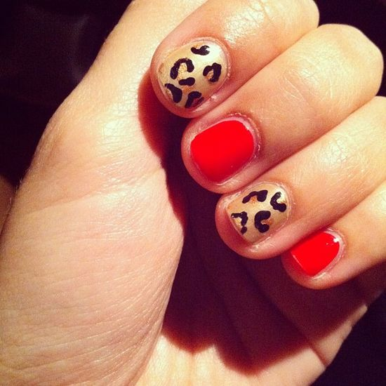leopard + red nails.