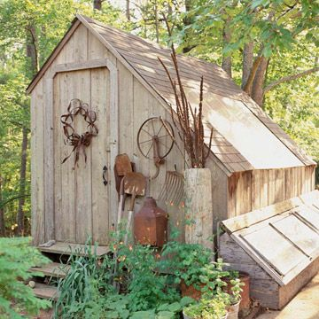 I like this rustic look for our shed at the side of the house...