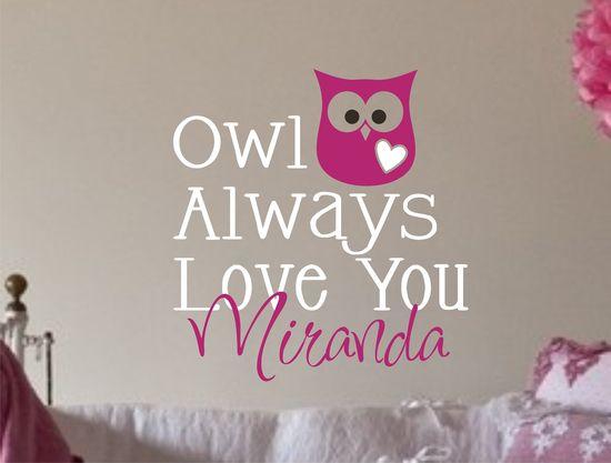 Owl Decal - Monogram Childrens Wall Decal - Vinyl Lettering Wall Art - Nursery Wall Decal - Vinyl Decal. $17.00, via Etsy.