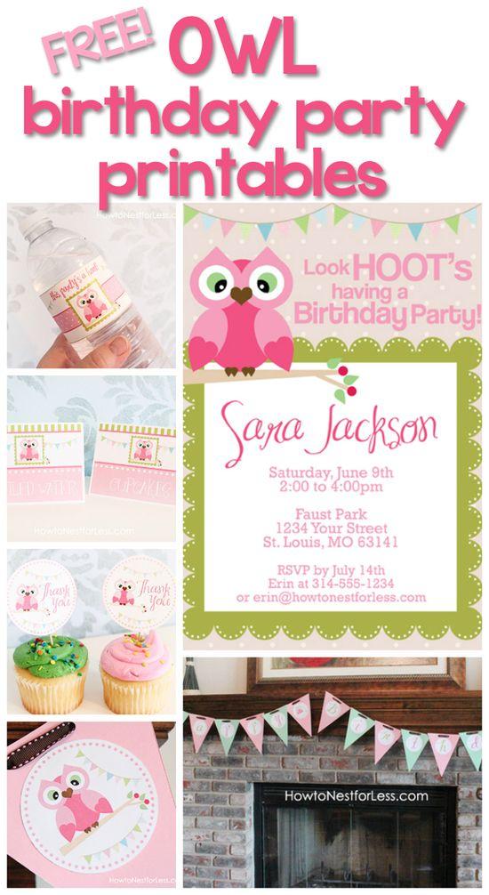 So cute!  FREE & customizable owl birthday party printables!