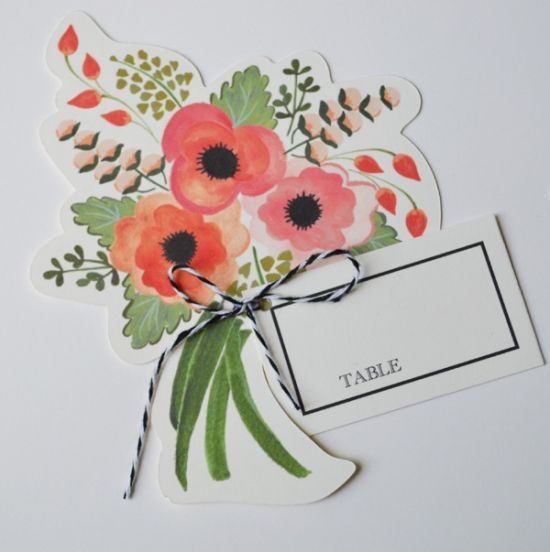DIY Wedding Place Card Kit. @Jan Wilke MacCallum Not flowers, something AIW - could be limited edition artworks by JanMac!! x