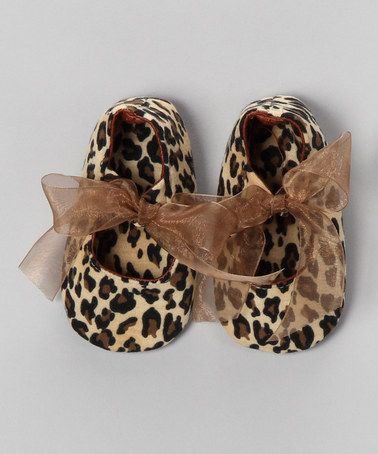 Take a look at this Tan & Brown Leopard Bow Flat by Truffles Ruffles on #zulily