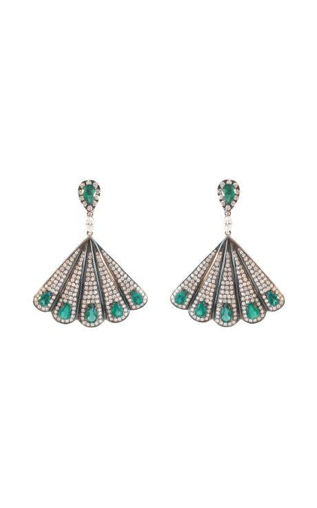 Emerald and Diamond Fan Earrings