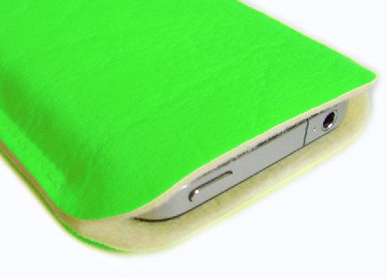 iPhone, cell phone case, iPod, NEON green faux leather & wool felt via Etsy