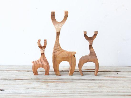Modern Carved Wood Deer Figures. Gallivanting Girls on Etsy