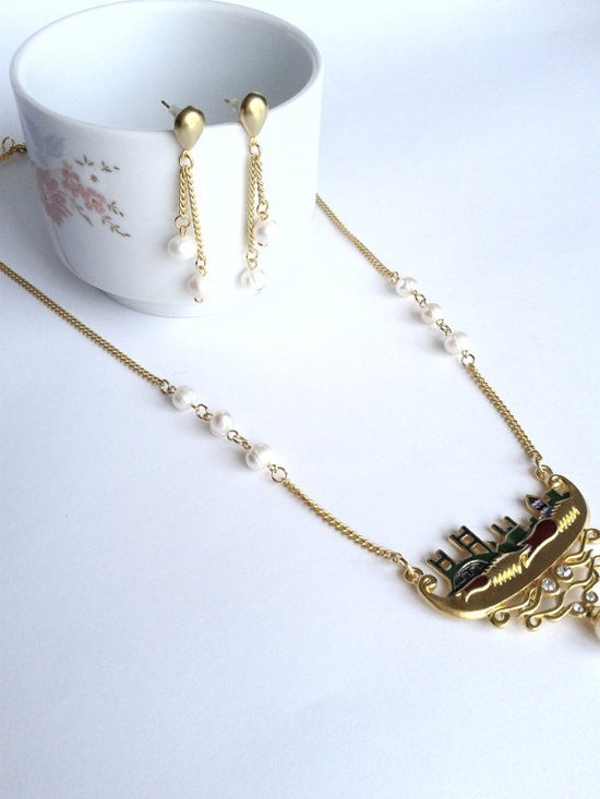 Necklace and Earring Set High quality Gold plated by HirasuGaleri, $45.00