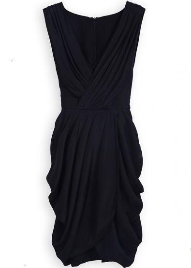 Black Sleeveless Wrap Deep V-neck Draped Side Belt Dress