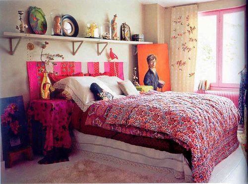 Amazing mix of color, pattern, and collected objects.