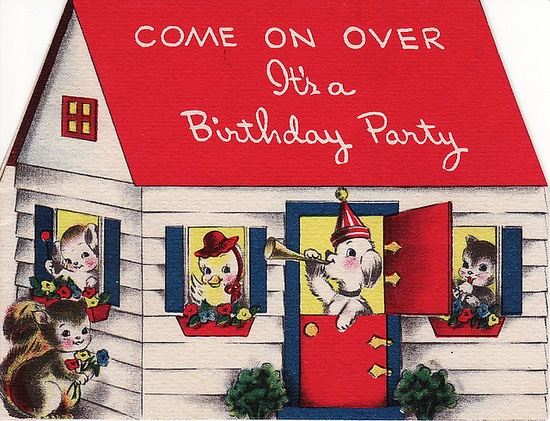 Come on over, it's a birthday party. #invitations #vintage #birthday #card #cute