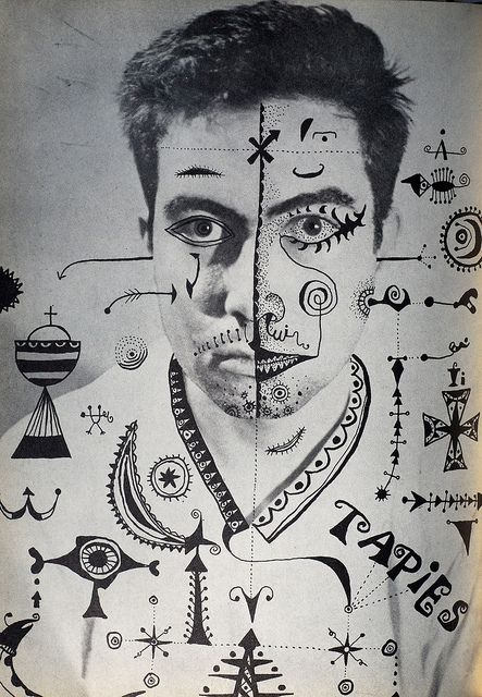 """""""Dau al Set"""" image    Black & white interior image from the avant-garde journal Dau al Set, (The Seven Spotted Dice) created by an artistic and literary group in Barcelona between 1948 and 1956."""