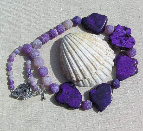 Statement Crystal Gemstone Necklace Purple by SunnyCrystals, £22.75 #jewelry #jewellery #necklace #magnesite #violet #sunnycrystals #purple #agate #summer
