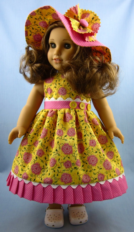 American Girl Doll Clothes - Sundress and Hat in Yellow and Pink Cotton Prints. $25.00, via Etsy.