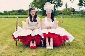 50s red petticoat under dress xx