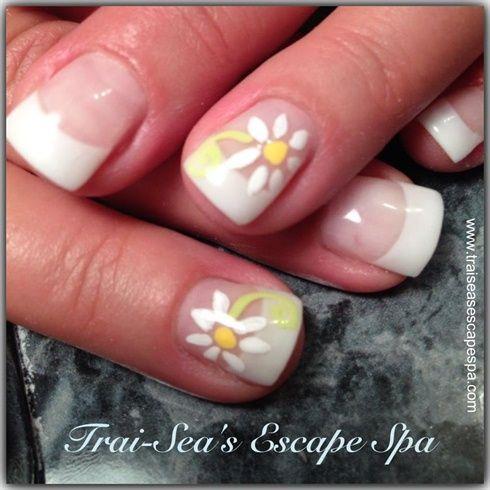 White Daisy's by TraiSeasEscape - Nail Art Gallery nailartgallery.na... by Nails Magazine www.nailsmag.com #nailart