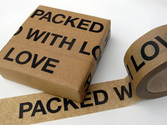 'Packed with Love' sticky paper tape, how cool is this for care packages?