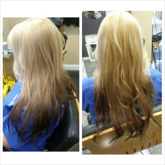Blonde to dark brown ombre. Long hair