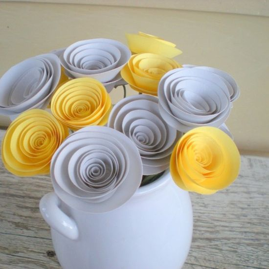 yellow and gray paper bouquet