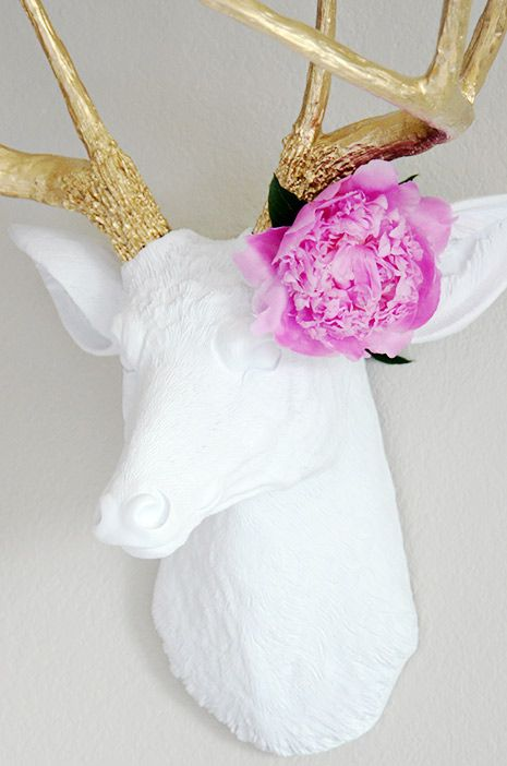 Gold & White Deer with Pink Peony