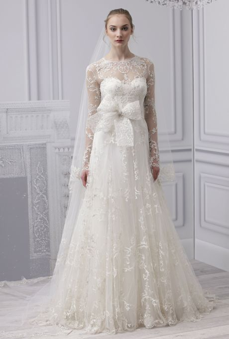 Long sleeved wedding dress  Monique Lhuillier 2013 Bridal Collection
