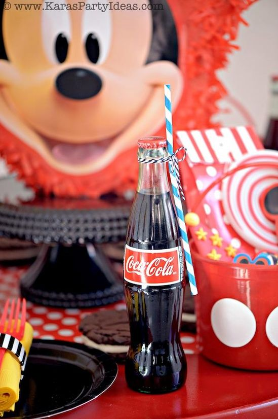 Cute Party Drink idea! Mickey Mouse Birthday Party via Karas Party Ideas